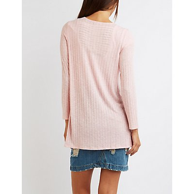 Ribbed Open Front Cardigan