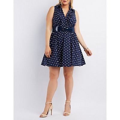 Plus Size Belted Ruffle-Front Skater Dress