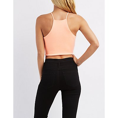 Wrapped Bib Neck Crop Top