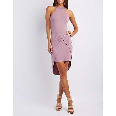 Tulip Slit Mock Neck Dress
