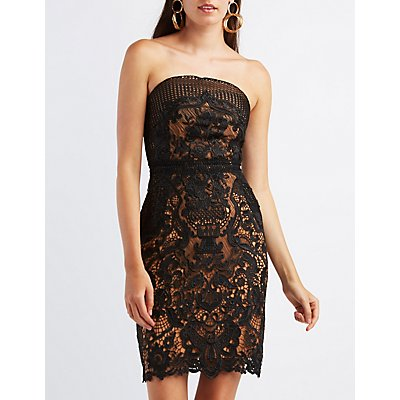 Lace Strapless Midi Dress