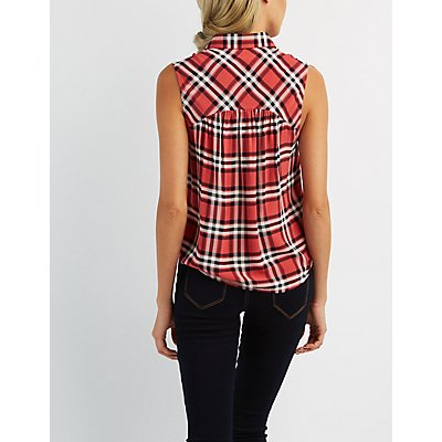 Tie Front Sleeveless Plaid Top