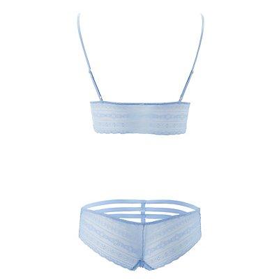 Lace Long Line Bralette & Hipster Panties Set