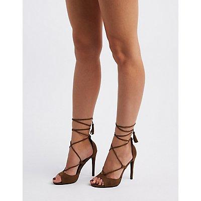 Peep Toe Tassel-Tie Sandals