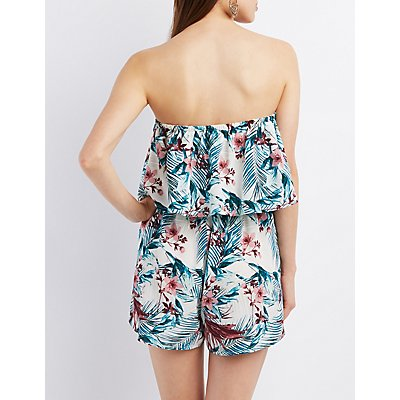 Strapless Tropical Print Romper