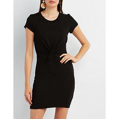 Knot Waist Bodycon T-Shirt Dress