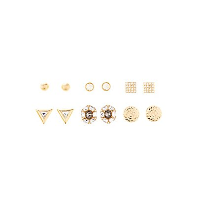 Triangle Gemstone, & Dome Earrings - 6 Pack