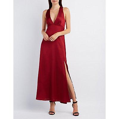 Asymmetrical Slit Plunging Maxi Dress