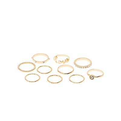 Embellished Love Stackable Rings - 9 Pack
