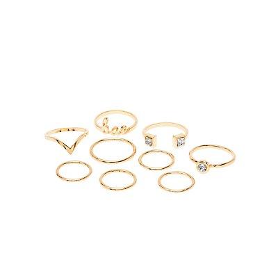 Embellished Bae Rings - 9 Pack