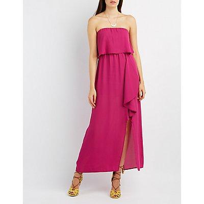 Strapless Slit Ruffle Maxi Dress
