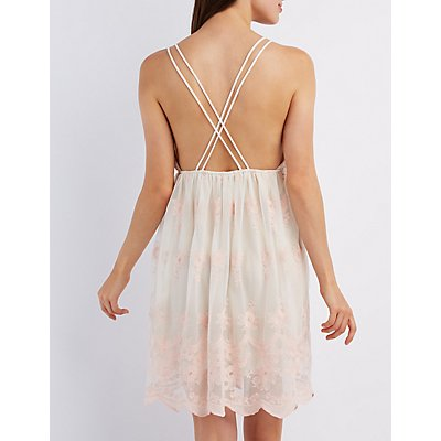 Embroidered Mesh Babydoll Dress