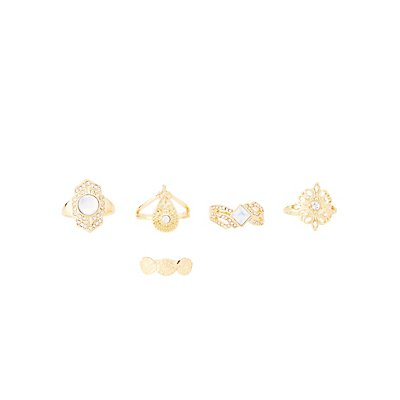 Embellished Boho Rings - 5 Pack