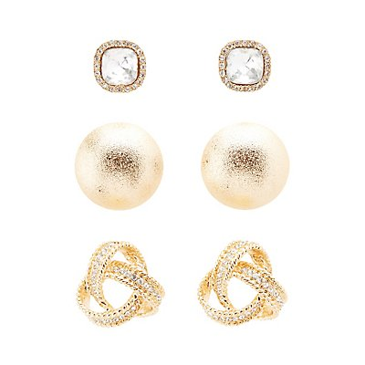 Knot, Diamante, & Dome Stud Earrings - 3 Pack