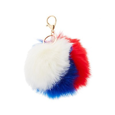 Faux Fur Ball Keychain