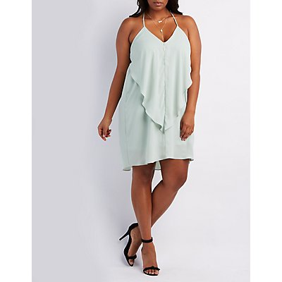 Plus Size Ruffle Shift Dress