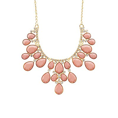 Diamante-Studded Faceted Stone Bib Necklace
