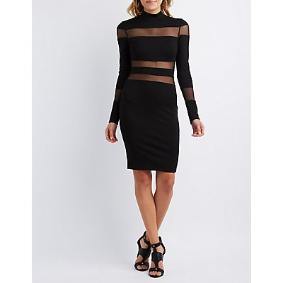 Mesh Stripe Bodycon Dress