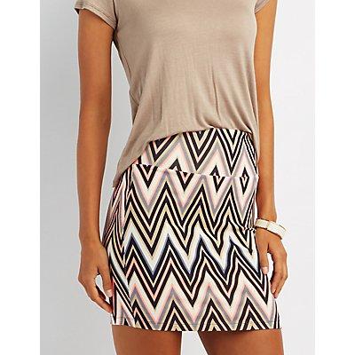 Chevron Bodycon Mini Skirt