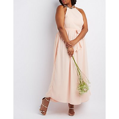 Plus Size Bib Neck Tie Waist Maxi Dress