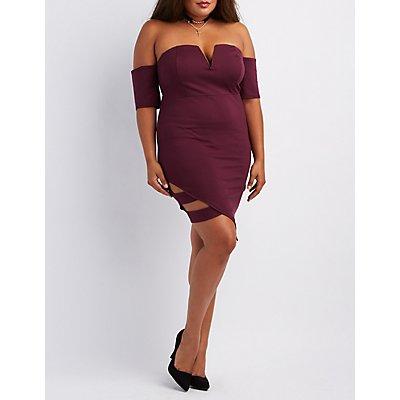 Plus Size Off-The-Shoulder Caged Dress