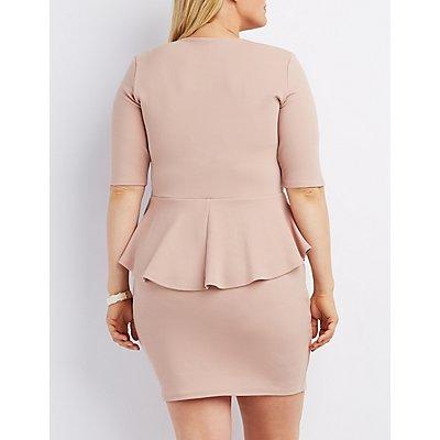 Plus Size Metal Accent Peplum Dress