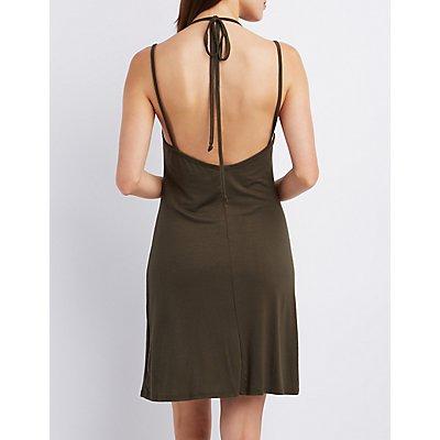 Strappy Open Back Shift Dress