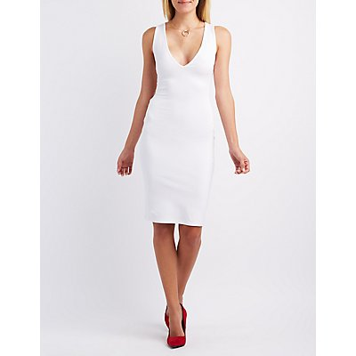 Plunging Caged-Back Bodycon Dress