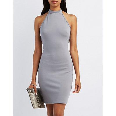 Mock Neck Halter Bodycon Dress