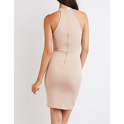 Mock Neck Cut-Out Bodycon Dress