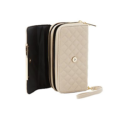 Quilted Double Zipper Wristlet Wallet