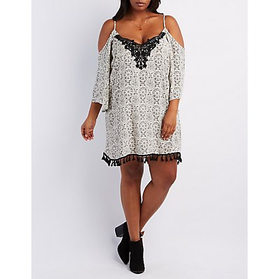 Plus Size Crochet-Trim Cold Shoulder Dress