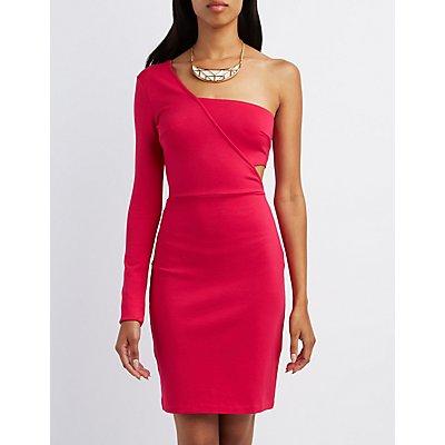 One-Shoulder Bodycon Midi Dress