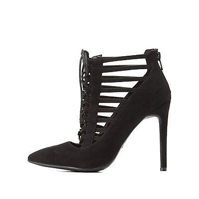 Caged Lace-Up Pumps