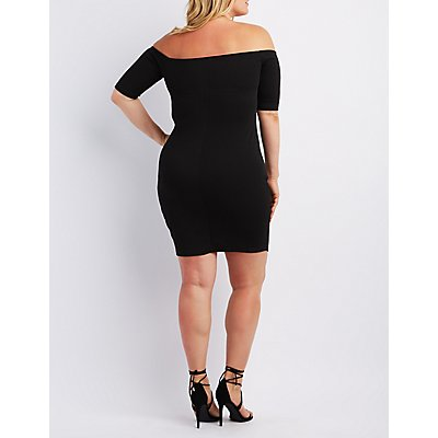 Plus Size Off-The-Shoulder Asymmetrical Dress