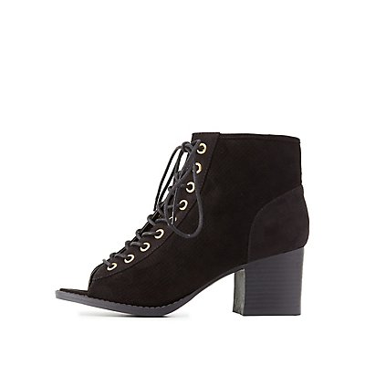 Perforated Lace-Up Booties