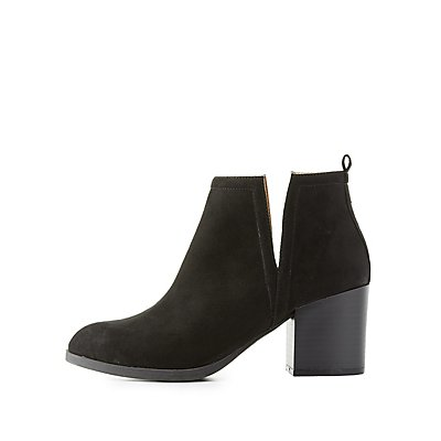 Notched Faux Suede Ankle Booties