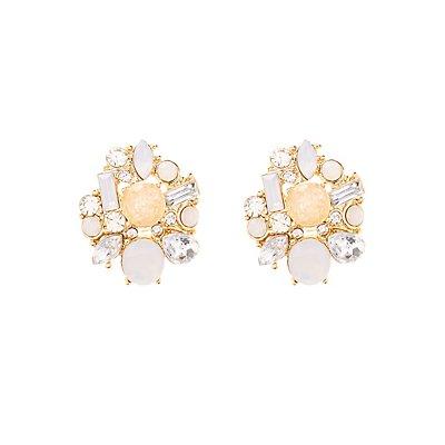 Asymmetrical Faceted Stone Earrings