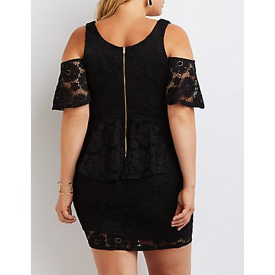 Plus Size Lace Cold Shoulder Peplum Dress