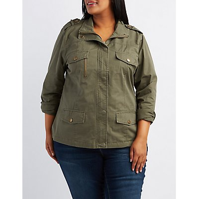 Plus Size Zip-Up Anorak Jacket