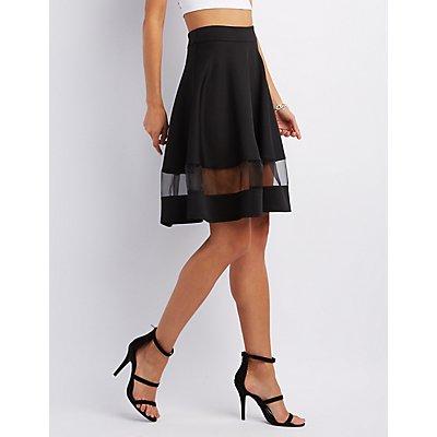 Organza Inset Full Midi Skirt