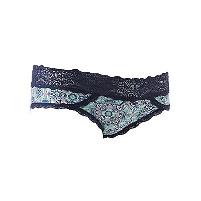 Printed Lace-Trim Cheeky Panties