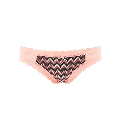 Printed Lace-Trim Thong Panties
