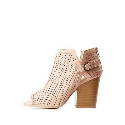 Peep Toe Laser Cut Booties