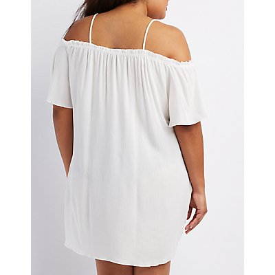Plus Size Gauze & Crochet Cold Shoulder Dress