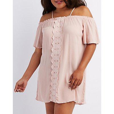 Plus Size Gauze & Crochet Cold Shoulder Dress