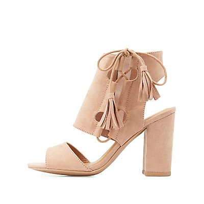 Laced Cut-Out Chunky Heel Sandals