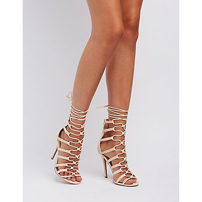 Qupid Caged Lace-Up Dress Sandals