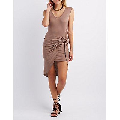 Asymmetrical Knot Front Dress