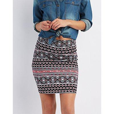 Printed Bodycon Mini Skirt